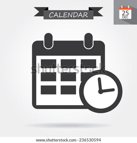 Calendar with clock icon - stock vector