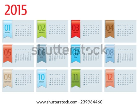 calendar 2015 with color ribbon  - stock vector