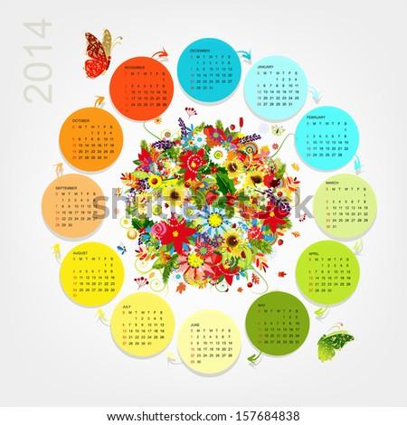 Calendar 2014 with four season bouquet for your design - stock vector