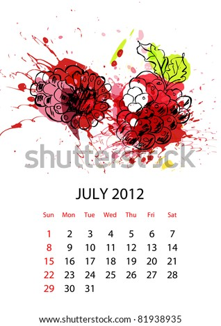 Calendar with fruit for 2012, july