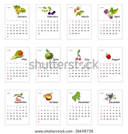 Calendar with  fruits 2010