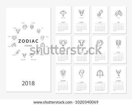 Calendar  Horoscope Signs Zodiac Symbols Stock Vector