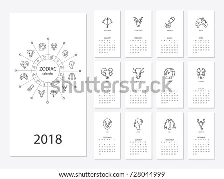 Calendar 2018 Horoscope Signs Zodiac Symbols Stock Vector HD