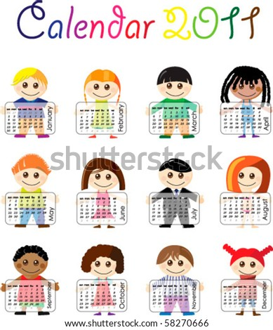 Calendar 2011 with illustrated cartoon kids - stock vector
