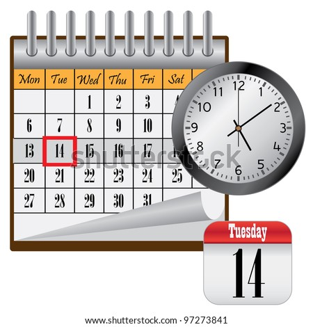 Calendar with month and clock on the white background. - stock vector