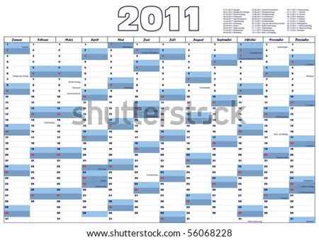 Calendar with official German holidays - stock vector