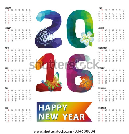 Calendar 2016 with Polygon numbers,rainbow colors.Modern triangle style.Sign of seasons,symbol,icon .New year holiday Vector background.Week starts from sunday,american.