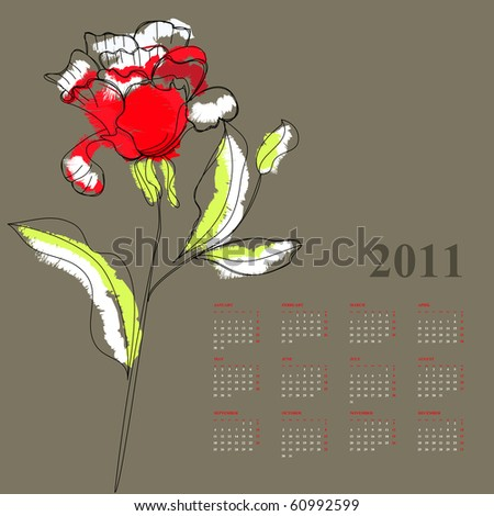 Calendar with rose for 2011