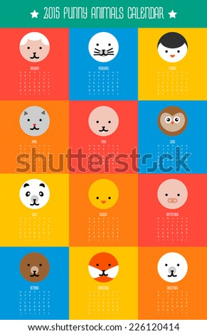 calendar with round flat cute animals icons weeks start on Monday - stock vector