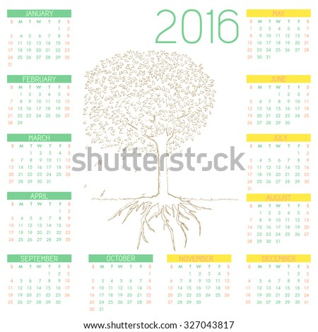 Calendar 2016 with Tree and Root Line Art Style