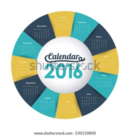 calendar year 2016 design, vector illustration eps10 graphic  - stock vector