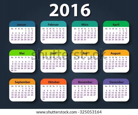 Calendar 2016 year German. Week starting on Monday. eps - stock vector