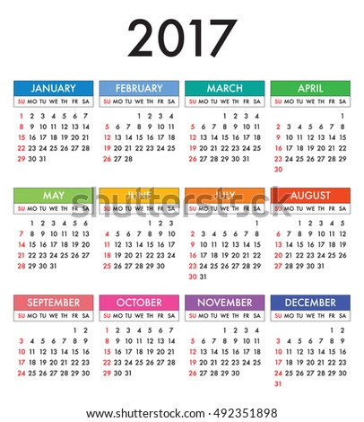 Calendar 2017 year in English, simple style. Week starts from Sunday. Text, thin frames in a separate layers.