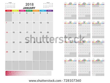 Calendar Year 2018 12 Months Calendar Stock Vector Hd Royalty Free