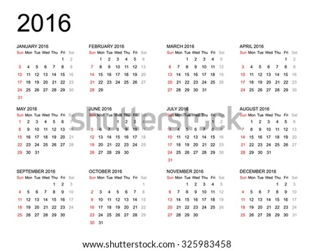 Calendar 2016 year on white background. Vector illustration. - stock vector