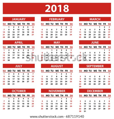 calendar 2018 year simple style white stock vector royalty free