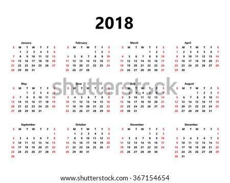 Calendar 2018 year simple style. Week starts from sunday - stock ...