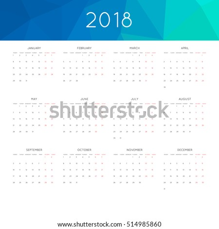 Calendar 2018 year simple style. With abstract geometric triangle mosaic tessllation header,banner. Week starts from monday