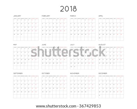 Calendar 2018 year simple style with grid. Week starts from monday