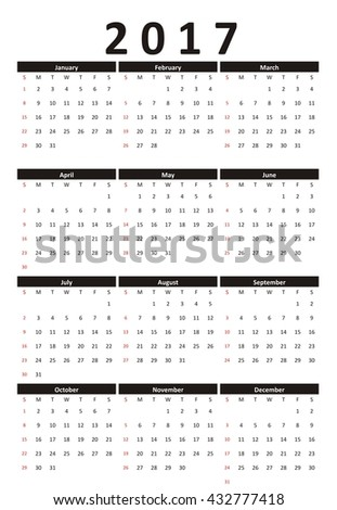 Calendar 2017 year strict business style, black and white. Calendar 2017 vector. Business calendar.