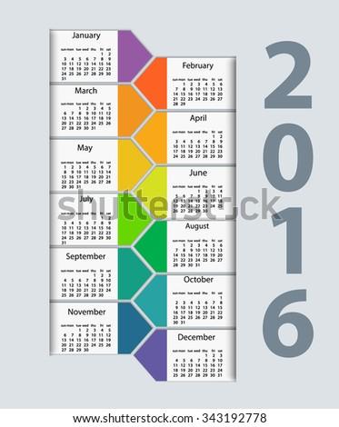 Calendar 2016 year vector design template. EPS10 - stock vector