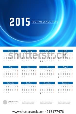 Calendar 2015 year vector design template. European version. - stock vector