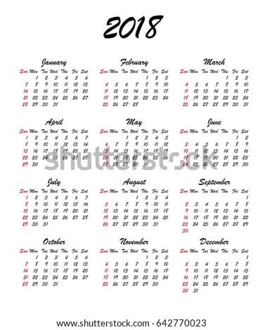 Calendar 2018 Year Week Starts Sunday Stock Vector 642770023 ...