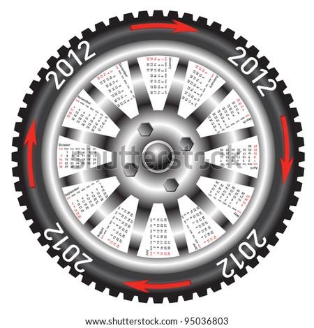 Calendar 2012 year  wheel car. Rasterized version also available in portfolio. - stock vector