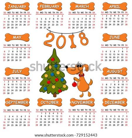 Calendar 2018 Year Yellow Dog Christmas Stock Vector 729152443