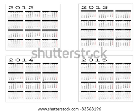 calendar years in Spanish 2012-2013-2014-2015 - stock vector