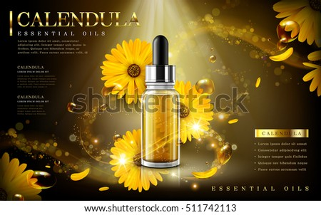 calendula essential oil ad, contained in droplet bottle, light and petal background, 3d illustration