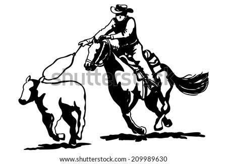 Calf Roping Clipart Stock Vector 209989630