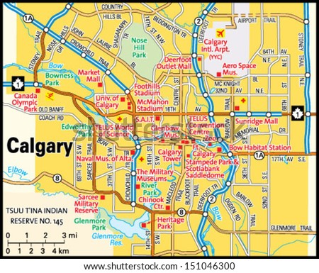 Calgary Alberta Area Map Stock Vector 151046300 Shutterstock