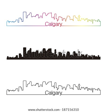 Calgary skyline linear style with rainbow in editable vector file - stock vector