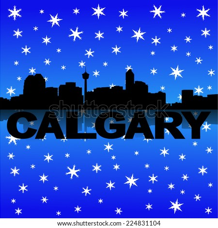 Calgary skyline reflected with snow vector illustration - stock vector