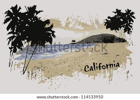 cali beach - stock vector