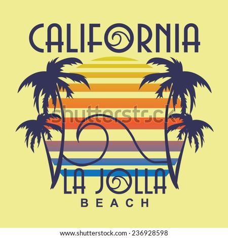 California beach typography, t-shirt graphics, vectors - stock vector