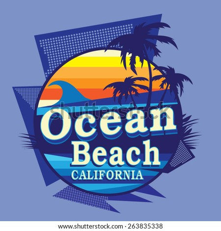 California beach typography t-shirt graphics, vectors - stock vector