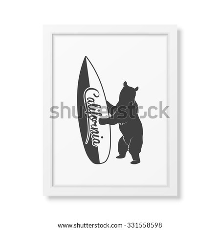 California bear holding a surfboard - Background in realistic square white frame on white background. Vector EPS10 illustration.  - stock vector