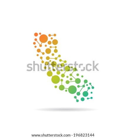 California dot and lines map image. Concept of networking, structure, communication. Vector icon - stock vector