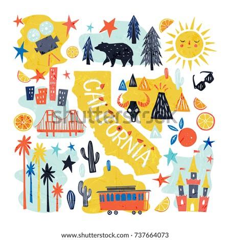 California Emblem Tourist Attractions Concept Hand Stock Vector