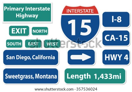 California Highway Signs Pack - stock vector