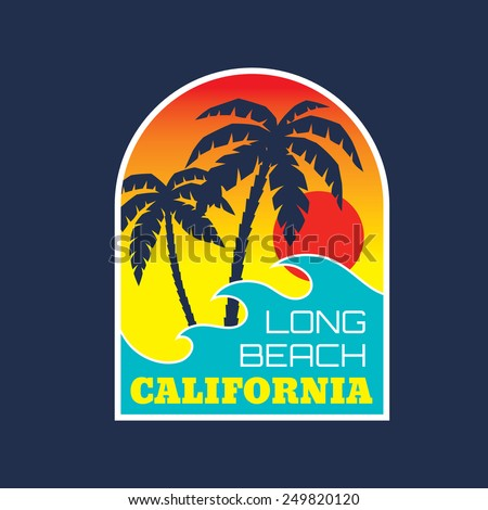 California Long Beach - vector illustration in vintage graphic style for t-shirt and other print production. Palms, wave and sun creative logo badge. Summer vacation concept. Design elements.
