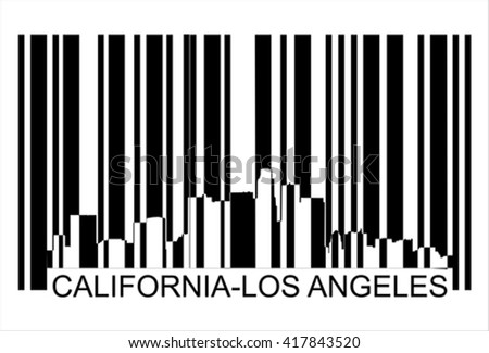 California Los Angeles city silhouette  barcode