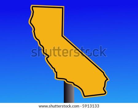 California map warning sign - stock vector