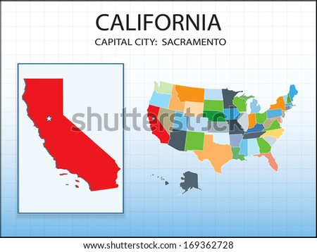 California map with capital city Sacramento marked in USA, American map. - stock vector