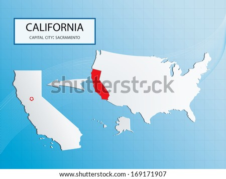 California map with Sacramento in  USA map