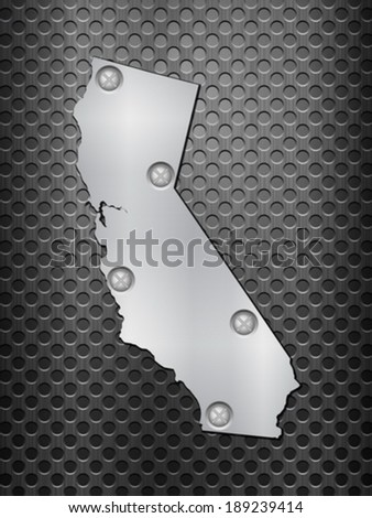 California metal map on a black metal grid. - stock vector
