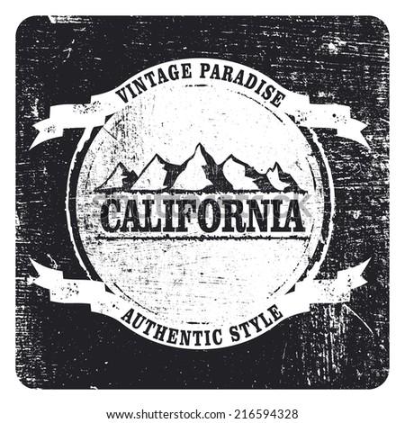 california mountains grunge shield - stock vector