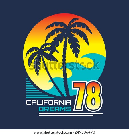 California nights - vector illustration concept in vintage graphic style for t-shirt and other print production. Palms, wave and sun vector illustration. Design elements.  - stock vector